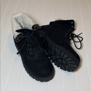 H&M Black Boots with White Fur Inside